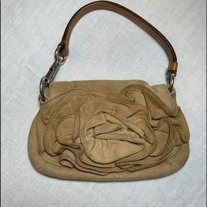Yves Saint Laurent tan suede flower mini bag